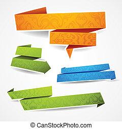 Farbige und dekorierte Papierbanner für deinen Text