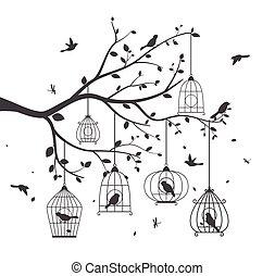 Farbige Vögel mit Baum.