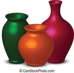 Farbige Vasen