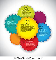 Farbige Vektor-Design Layout Vorlage mit Zahlen in Sequenz. Diese abstrakte und einfache Grafikvorlage enthält helle, farbige oder geradformte Etiketten und Platz für Text