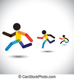 Farbige Vektor-Icons von Sprint Athleten Rennen in einem Wettbewerb. Diese abstrakte Grafik kann auch Personen, die die Herausforderung, Cardio-Workouts, Gesundheitstraining, laufenden Marathon, etc. gewinnen