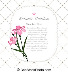 Farbige Wasserfarben Textur Vektor Natur botanischen Garten memo Rahmen rosa Iris.