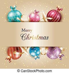 Farbige Weihnachtskugel mit goldenem Hintergrund.