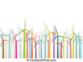 Farbige Windstromgeneratoren und Windmühlen, detaillierte ökologische Elektrizität Silhouetten Illustration Hintergrundvektor.