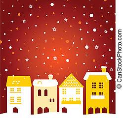 Farbige Winterweihnachtsstadt mit Schnee dahinter