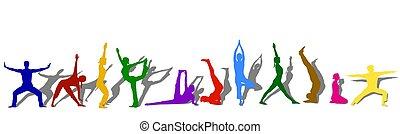 Farbige Yoga-Silhouette