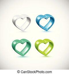 Farbiger 3D-Herzrahmen eingestellt, Vektor.