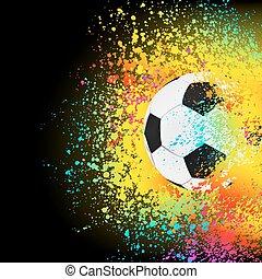 Farbiger Hintergrund mit einem Fußball. EPS 8