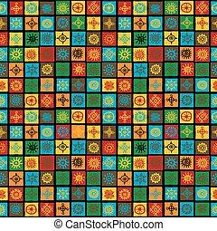 Farbiger Hintergrund mit ethnischen Symbolen in Quadraten.