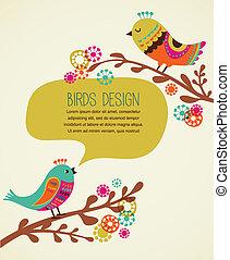 Farbiger Hintergrund mit süßen dekorativen Vögeln