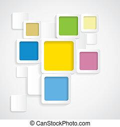 Farbiger Hintergrund rundete Quadrate mit Grenzen - Vektorgraphi
