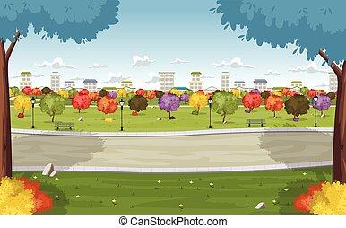 Farbiger Park in der Stadt.