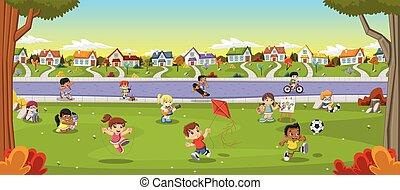 Farbiger Park in der Stadt mit Cartoon-Kinder spielen.