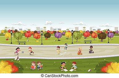 Farbiger Park in der Stadt mit süßen Cartoon-Kinder spielen
