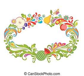 Farbiger Rahmen mit Früchten.