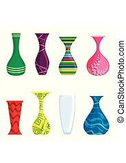 Farbiger Vektor, isoliert auf weißem Hintergrund. Moderne Vasen für Blumen. Vector Illustration
