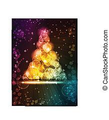 Farbiger Weihnachtsbaum aus Lichtpunkten mit Sternen