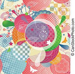 Farbiges abstraktes Muster in einem modernen Stil, mit Transparenz und ungesehen.