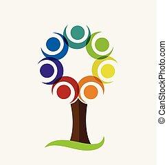 Farbiges Baum-Vektor-Logo.