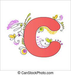 Farbiges Blumen Alphabet. Buchstabe C
