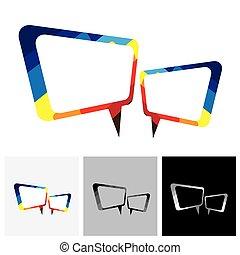 Farbiges Chat-Symbol oder Sprachblasensymbol - Vektor-Logo