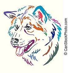 Farbiges dekoratives Portrait von alaskan malamute Hundevektor Illustration