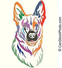 Farbiges dekoratives Portrait von Dog Shepherd Vektor Illustration