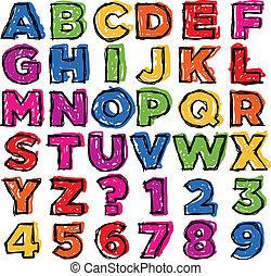 Farbiges doodle Alphabet und Nummer