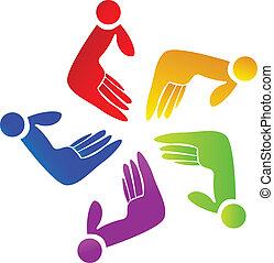 Farbiges Hände-Team-Logo