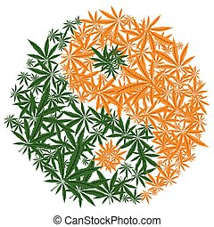 Farbiges Marihuana Design Yin Yang Cannabis Blattsymbol. Vector.