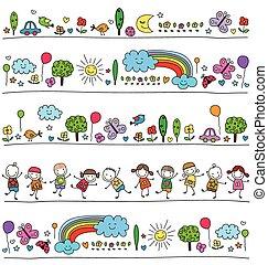 Farbiges Muster für Kinder mit süßen Naturelementen.