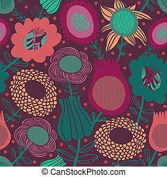Farbiges, nahtloses Blumenmuster.