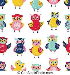 Farbiges, nahtloses Muster mit bezaubernden Eulen auf weißem Hintergrund. Backdrop mit Comic-Klugen Waldvögeln. Kindische Vektorgrafik im flachen Stil für Verpackungspapier, Stoffdruck, Tapeten.