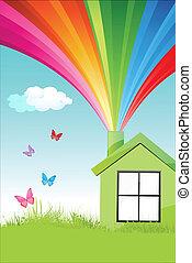 Farbiges natürliches Zuhause