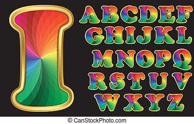 Farbiges Regenbogen- Alphabet