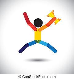 Farbiges Vektor-Icon einer Person, die den Sieg feiert.