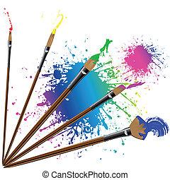 Farbmaler mit Spritzern