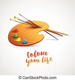 Farbpalette mit Pinsel und Stiftwerkzeugen zum Zeichnen. Vector Illustration