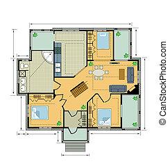 Farbplan-Landhaus