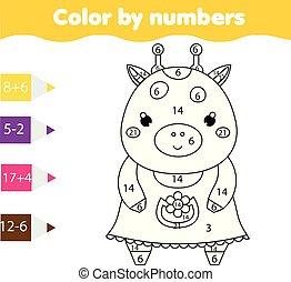 Farbseite mit süßer Giraffe Farbe durch Zahlen druckbare Aktivität, Mathematik Spiel für Kleinkinder