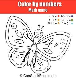 Farbseite mit Schmetterling. Farbe nach Zahlen pädagogisches Kinderspiel, Zeichnung Kinder Aktivität