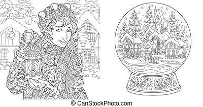 Farbseiten mit Wintermädchen, magische Kristallkugel