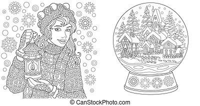 Farbseiten mit Wintermädchen und magischer Kristallschneekugel