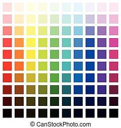 Farbspektrum hundert verschiedene Farben.