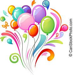 Farbspritzer mit Ballons
