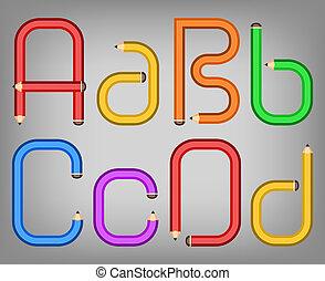 Farbstift Alphabet