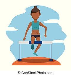Farbszene mit gesichtsloser brünett Athletin.