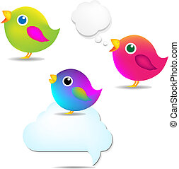 Farbvögel mit Sprachblase