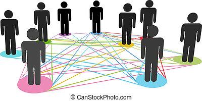 Farbverbindungen vernetzen soziale Geschäftsleute