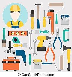 Farbwerkzeuge zur Reparatur und Verbesserung von Zuhause. Vector Illustration.